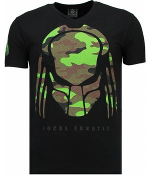 Local Fanatic Predator - Rhinestone T-shirt - Zwart