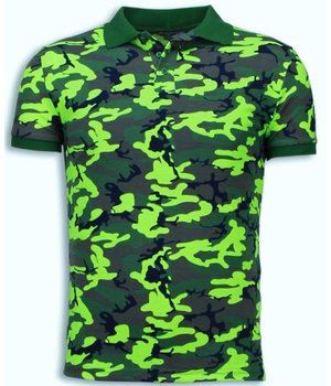 Black Number Camo Polo Shirt - Neon Camouflage Polo Shirt - Groen / Geel
