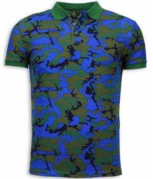 Black Number Camo Polo Shirt - Neon Camouflage Polo Shirt - Blauw