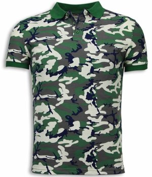 Black Number Camo Polo Shirt - Neon Camouflage Polo Shirt - Beige / Groen