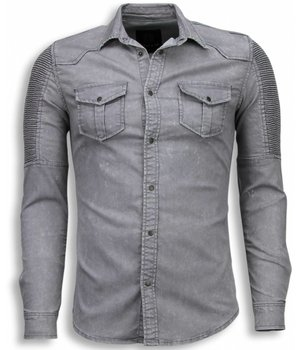 Diele & Co Biker Denim Shirt - Slim Fit Ribbel Schoulder - Grijs
