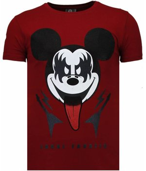 Local Fanatic Kiss My Mickey - Rhinestone T-shirt - Bordeaux