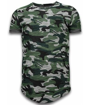 YesNo Assorted Camouflage T-shirt -Long Fit Camo Shirt Chest Pocket - Groen