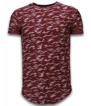 John H Fashionable Camouflage T-shirt - Long Fit Shirt Army Pattern - Bordeaux