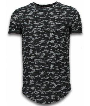 John H Fashionable Camouflage T-shirt - Long Fit Shirt Army Pattern - Zwart