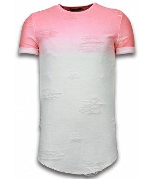 John H Flare Effect T-shirt - Long Fit Shirt Dual Colored - Zalm Rood