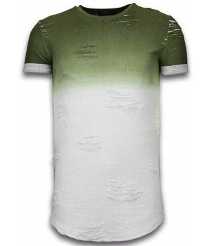John H Flare Effect T-shirt - Long Fit Shirt Dual Colored - Groen