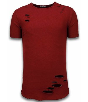 © MAN Damaged Look Shirt - Long Fit T-shirt - Bordeaux