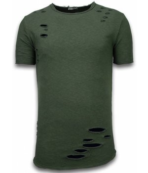 © MAN Damaged Look Shirt - Long Fit T-shirt - Groen