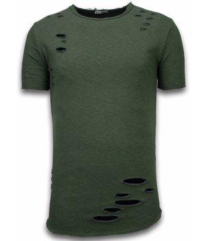 © MAN Damaged Look Shirt - Long Fit T-shirt - Groen