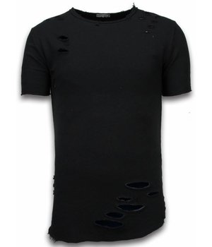 © MAN Damaged Look Shirt - Long Fit T-shirt - Groen - Zwart