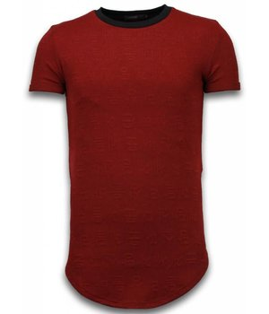 John H 3D Encrypted T-shirt - Long Fit Shirt Zipped - Rood