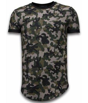 John H Camouflaged Fashionable T-shirt - Long Fit Shirt Army Pattern - Groen