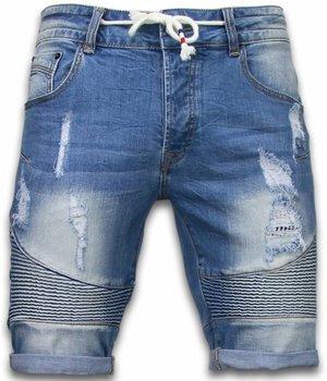 Enos Korte Broeken Heren - Slim Fit Ribbed Look Shorts - Blauw