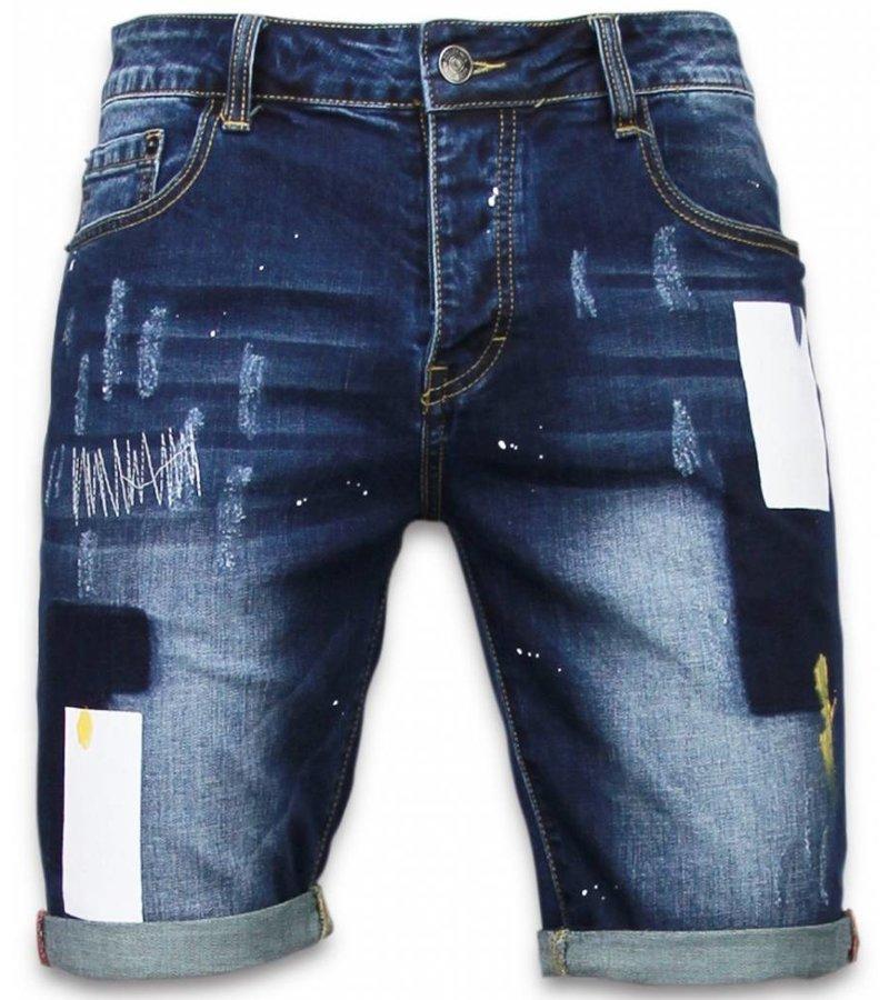 Enos Korte Broeken Heren - Slim Fit Rectangle Painted Shorts - Blauw
