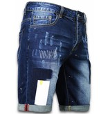 Enos Korte Broeken Heren - Slim Fit Rectangle Painted Shorts - Blauw