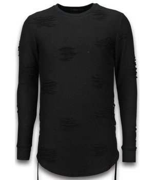John H Destroyed Look Trui - Side Laces Long Fit Sweater - Zwart