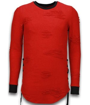 John H Destroyed Look Trui - Side Laces Long Fit Sweater - Rood