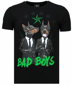 Local Fanatic Bad Boys Pinscher - Rhinestone T-shirt - Zwart