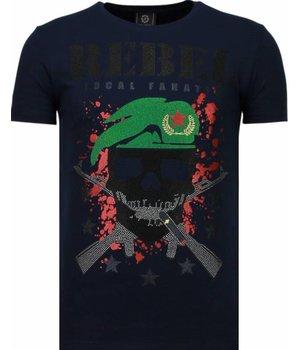 Local Fanatic Skull Rebel - Rhinestone T-shirt - Blauw
