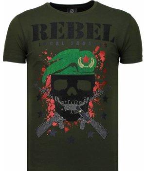 Local Fanatic Skull Rebel - Rhinestone T-shirt - Groen