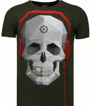 Local Fanatic Skull Bring The Beat - Rhinestone T-shirt - Groen