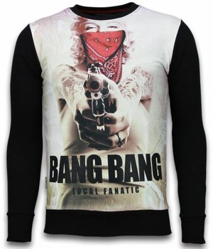Local Fanatic Monroe Bang Bang - Digital Rhinestone Sweater - Zwart