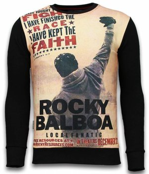 Local Fanatic Rocky Balboa Faith - Digital Rhinestone Sweater - Zwart