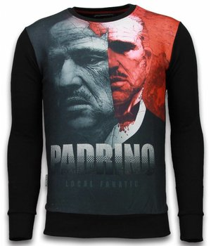 Local Fanatic El Padrino Two Faced - Digital Rhinestone Sweater - Zwart