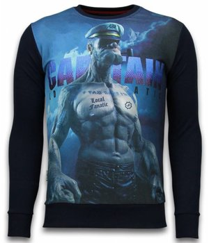 Local Fanatic The Sailor Man - Digital Rhinestone Sweater - Zwart