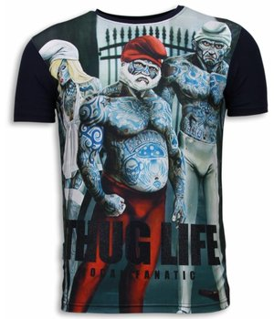 Local Fanatic Thug Life - Digital Rhinestone T-shirt - Navy