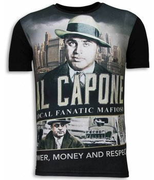 Local Fanatic Al Capone Mafioso - Digital Rhinestone T-shirt - Zwart