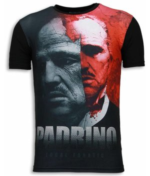 Local Fanatic El Padrino - Digital Rhinestone T-shirt - Zwart