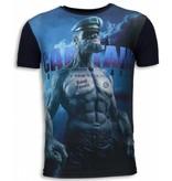 Local Fanatic Captain Sailor Man - Digital Rhinestone T-shirt - Navy