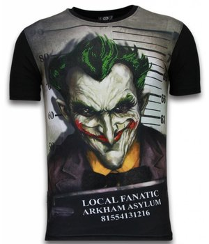Local Fanatic The Joker Arkham Asylum - Digital Rhinestone T-shirt - Zwart