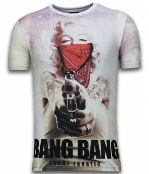 Local Fanatic Bang Bang Marilyn - Digital Rhinestone T-shirt - Wit