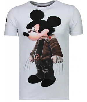 Local Fanatic Bad Mouse - Rhinestone T-shirt - Wit
