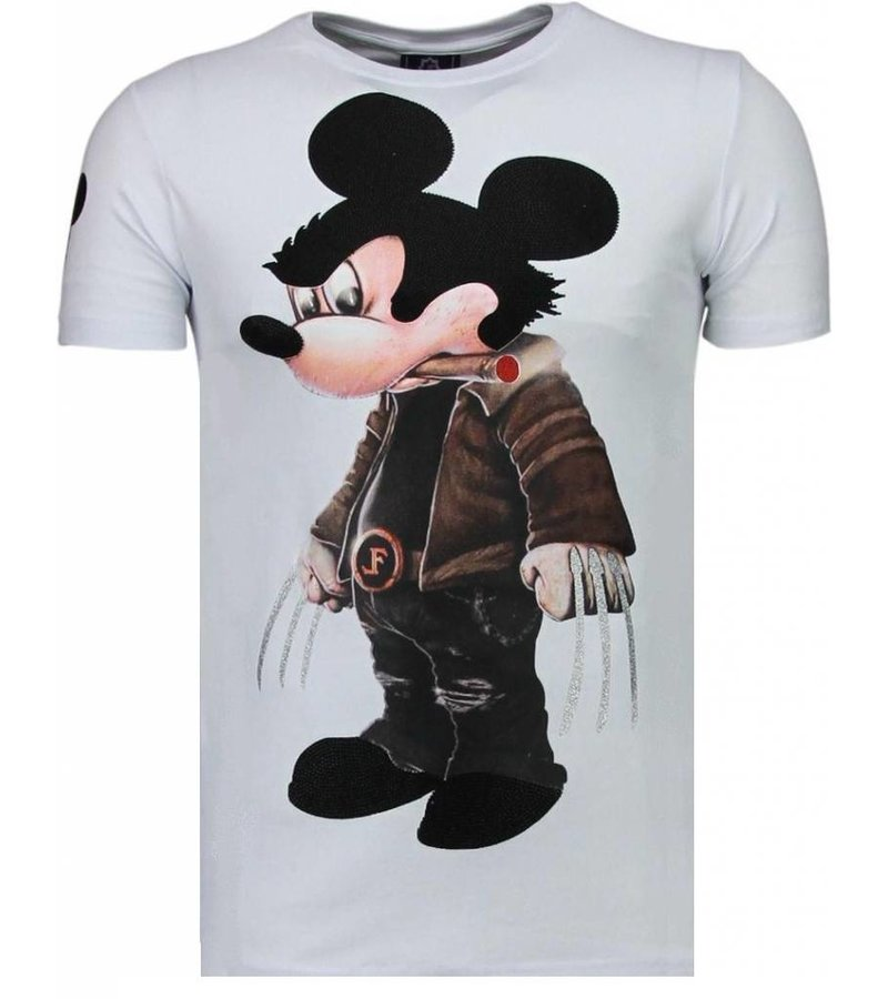 Local Fanatic Bad Mouse - Rhinestone T-shirt - Wit