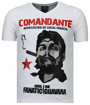 Local Fanatic Che Guevara Comandante - Rhinestone T-shirt - Wit
