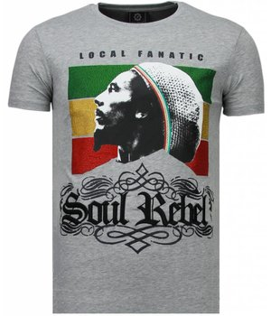 Local Fanatic Soul Rebel Bob - Rhinestone T-shirt - Grijs