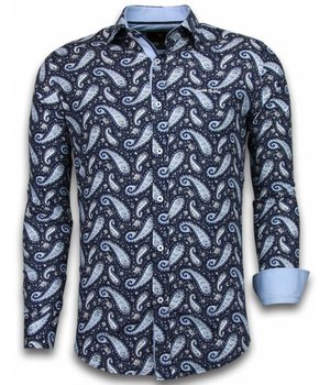 Gentile Bellini Italiaanse Overhemden - Slim Fit Overhemd - Blouse Flower Pattern - Blauw