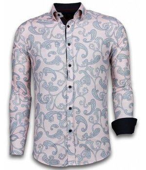 Gentile Bellini Italiaanse Overhemden - Slim Fit Overhemd - Blouse Baroque Pattern - Roze