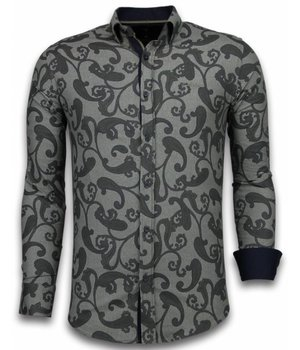 Gentile Bellini Italiaanse Overhemden - Slim Fit Overhemd - Blouse Baroque Pattern - Bruin