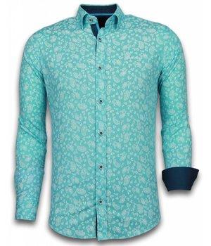 Gentile Bellini Italiaanse Overhemden - Slim Fit Overhemd - Blouse Leaves Pattern - Turqoise