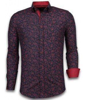 Gentile Bellini Italiaanse Overhemden - Slim Fit Overhemd - Blouse Leaves Pattern - Zwart