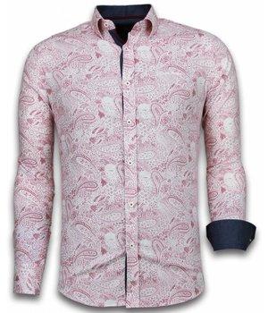 Gentile Bellini Italiaanse Overhemden - Slim Fit Overhemd - Blouse Allover Flower Pattern - Rood