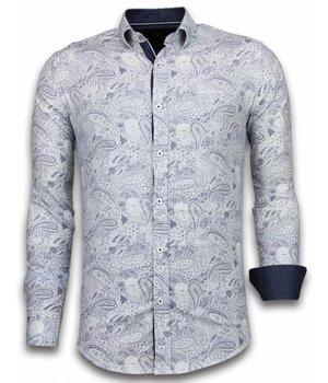 Gentile Bellini Italiaanse Overhemden - Slim Fit Overhemd - Blouse Allover Flower Pattern - Blauw