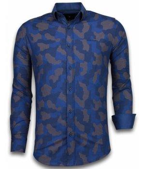 Gentile Bellini Italiaanse Overhemden - Slim Fit Overhemd - Blouse Dotted Camouflage Pattern - Blauw