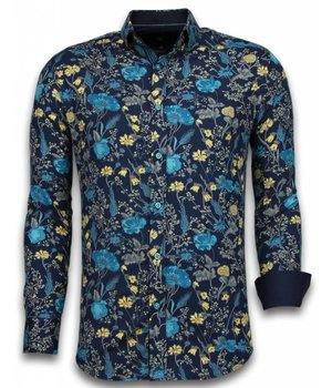 Gentile Bellini Italiaanse Overhemden - Slim Fit Overhemd - Blouse Coloured Flower Pattern - Blauw