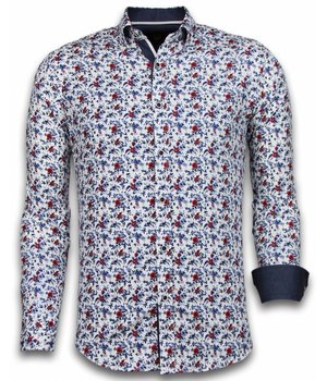 Gentile Bellini Italiaanse Overhemden - Slim Fit Overhemd - Blouse Painted Flower Pattern - Wit